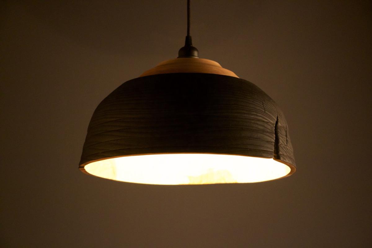 Yakisugi : suspension en bois brûlé luminaire en bois | miroKo