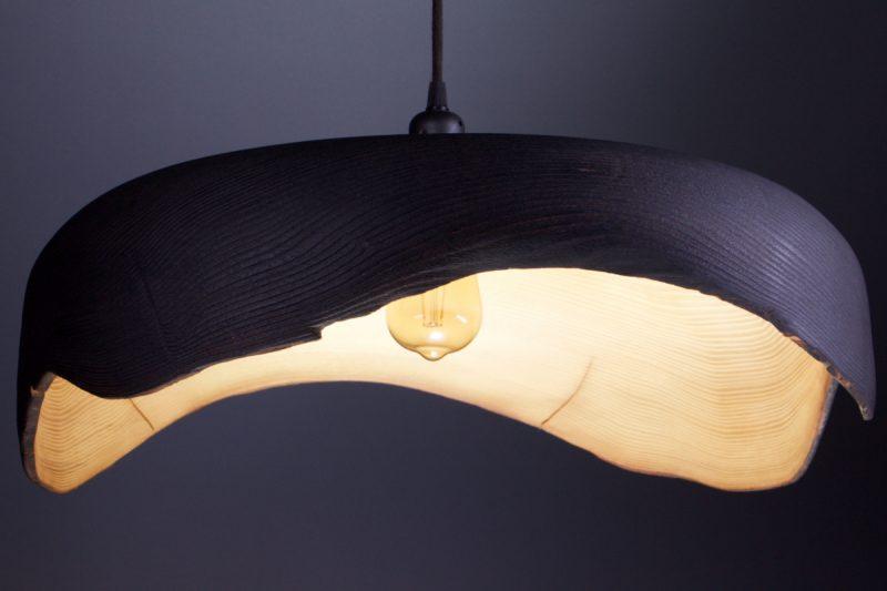 luminaire en bois naturel shou sugi ban